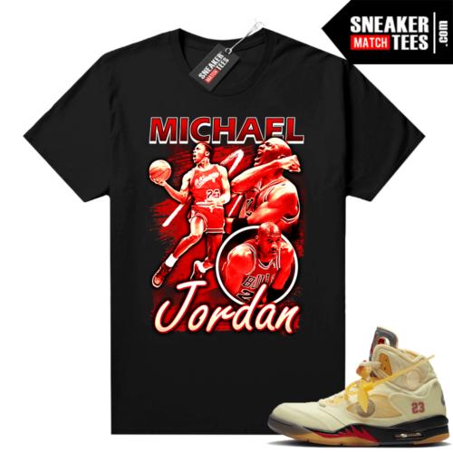 OFF White Jordan 5 Sail Sneaker Tees Shirts Black Vintage MJ