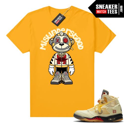 OFF White Jordan 5 Sail Sneaker Tees Shirts Gold Misunderstood Monkey Toon