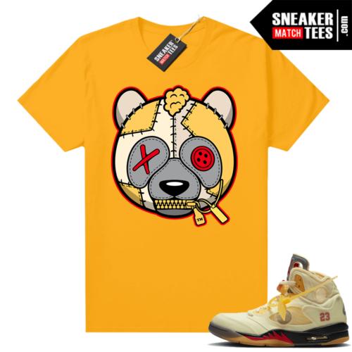 OFF White Jordan 5 Sail Sneaker Tees Shirts Gold Misunderstood Panda