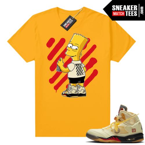 OFF White Jordan 5 Sail Sneaker Tees Shirts Gold OFF-Bart