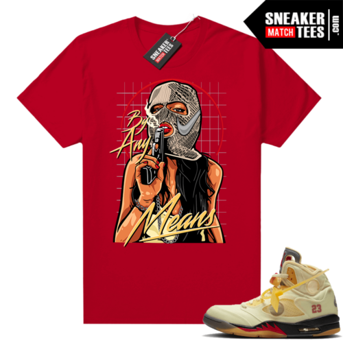 OFF White Jordan 5 Sail Sneaker Tees Shirts Red By Any Means
