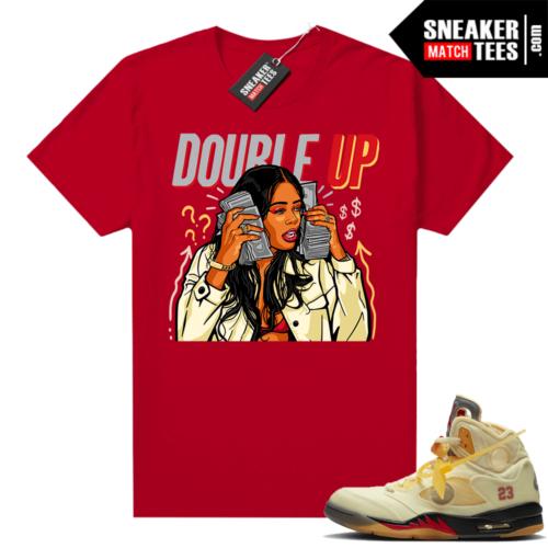OFF White Jordan 5 Sail Sneaker Tees Shirts Red Double Up Gang