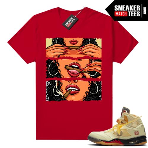 OFF White Jordan 5 Sail Sneaker Tees Shirts Red Lit