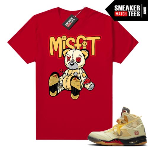 OFF White Jordan 5 Sail Sneaker Tees Shirts Red Misfit Voodoo Sneaker Bear