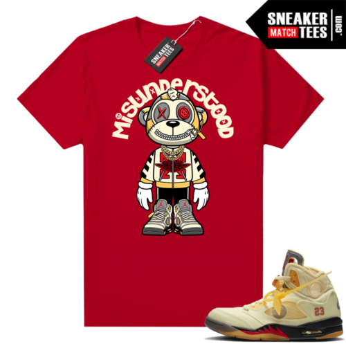 OFF White Jordan 5 Sail Sneaker Tees Shirts Red Misunderstood Monkey Toon