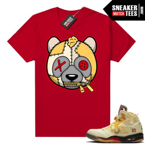 OFF White Jordan 5 Sail Sneaker Tees Shirts Red Misunderstood Panda