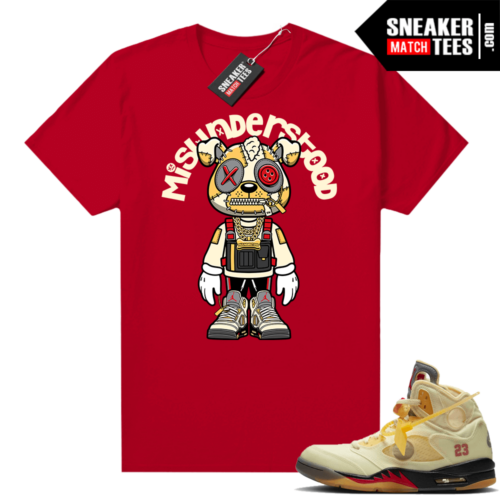 OFF White Jordan 5 Sail Sneaker Tees Shirts Red Misunderstood Puppy Toon