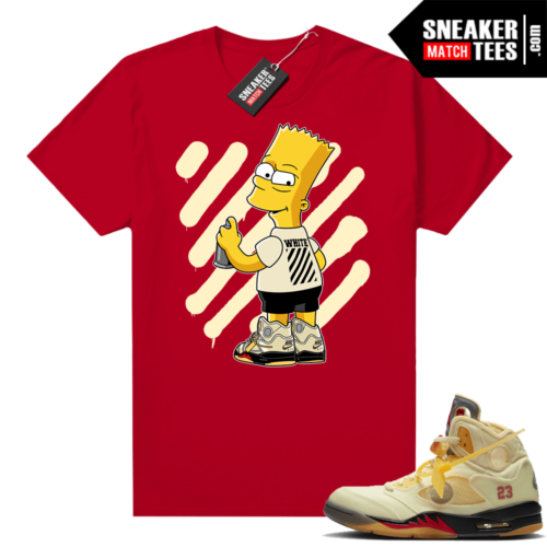 OFF White Jordan 5 Sail Sneaker Tees Shirts Red OFF-Bart