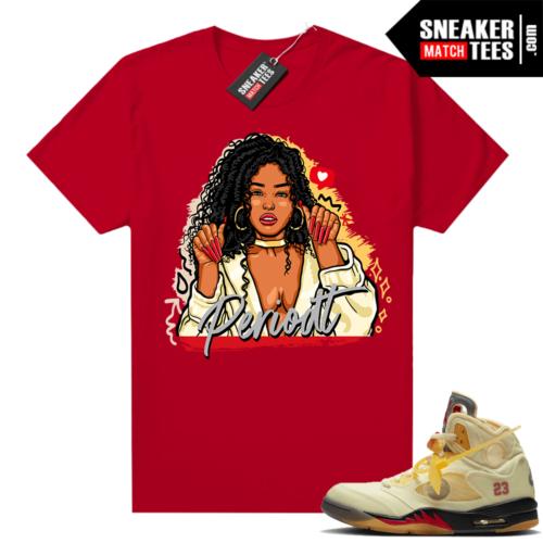 OFF White Jordan 5 Sail Sneaker Tees Shirts Red Periodt
