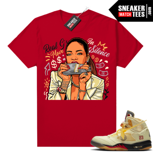 OFF White Jordan 5 Sail Sneaker Tees Shirts Red Real Gs Move In Silence