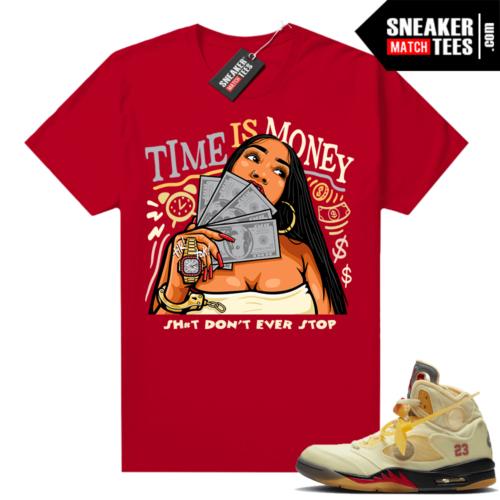 OFF White Jordan 5 Sail Sneaker Tees Shirts Red Time Is Money