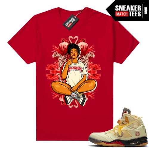 OFF White Jordan 5 Sail Sneaker Tees Shirts Red Vibes