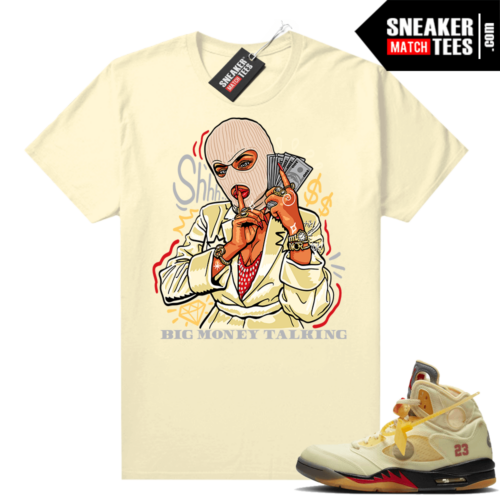 OFF White Jordan 5 Sail Sneaker Tees Shirts Sail Big Money Talking