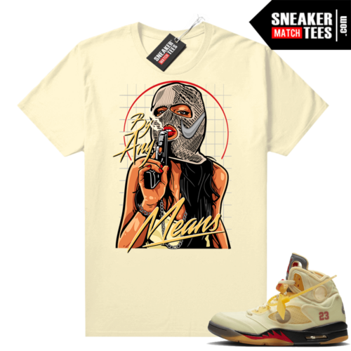 OFF White Jordan 5 Sail Sneaker Tees Shirts Sail By Any Means