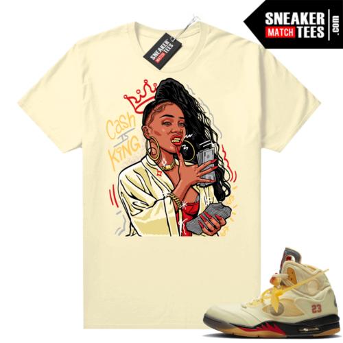 OFF White Jordan 5 Sail Sneaker Tees Shirts Sail Cash is King