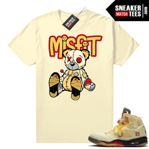 OFF White Jordan 5 Sail Sneaker Tees Shirts Sail Misfit Voodoo Sneaker Bear
