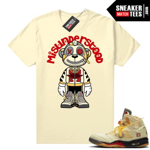 OFF White Jordan 5 Sail Sneaker Tees Shirts Sail Misunderstood Monkey Toon