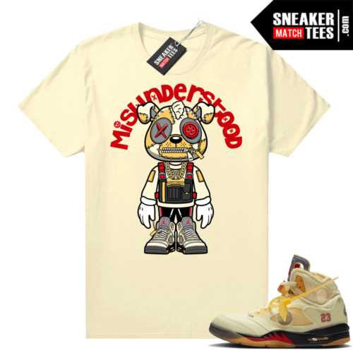 OFF White Jordan 5 Sail Sneaker Tees Shirts Sail Misunderstood Puppy Toon