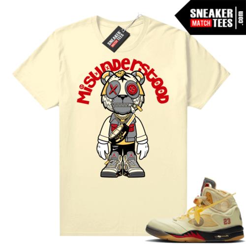 OFF White Jordan 5 Sail Sneaker Tees Shirts Sail Misunderstood Tiger Toon