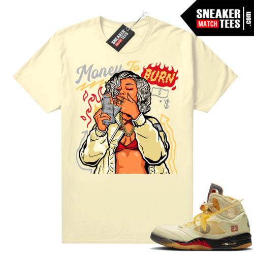 OFF White Jordan 5 Sail Sneaker Tees Shirts Sail Money To Burn