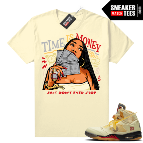 OFF White Jordan 5 Sail Sneaker Tees Shirts Sail Time Is Money