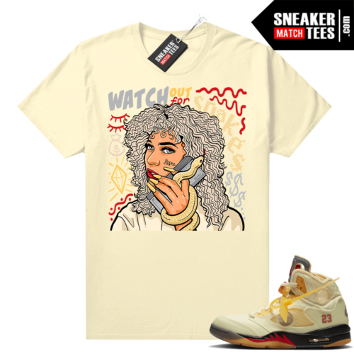 OFF White Jordan 5 Sail Sneaker Tees Shirts Sail Watch Out For Snakes