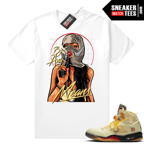 OFF White Jordan 5 Sail Sneaker Tees Shirts White By Any Means