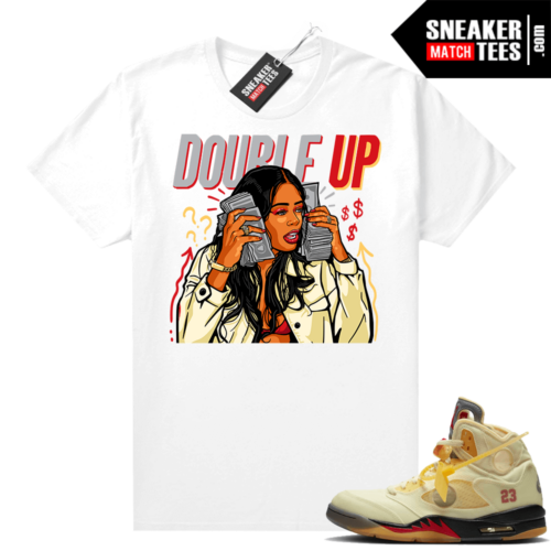 OFF White Jordan 5 Sail Sneaker Tees Shirts White Double Up Gang