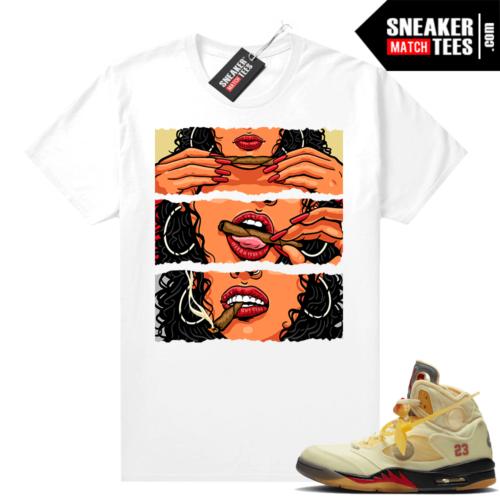 OFF White Jordan 5 Sail Sneaker Tees Shirts White Lit