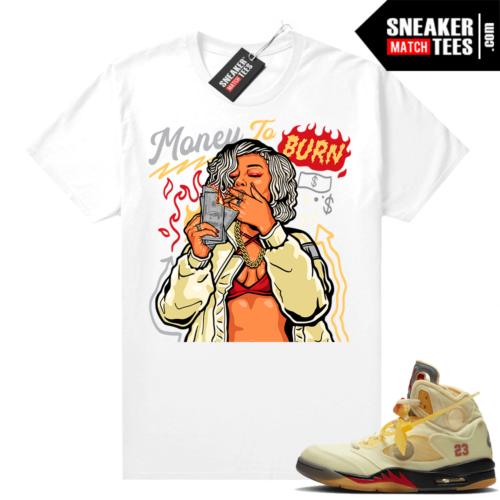 OFF White Jordan 5 Sail Sneaker Tees Shirts White Money To Burn