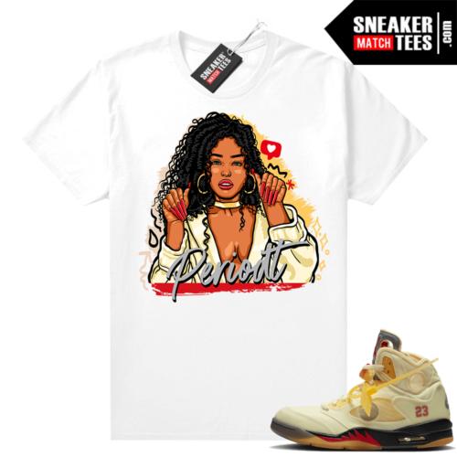 OFF White Jordan 5 Sail Sneaker Tees Shirts White Periodt