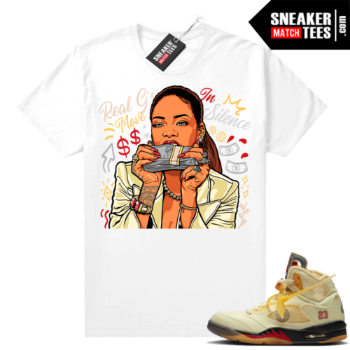 OFF White Jordan 5 Sail Sneaker Tees Shirts White Real Gs Move In Silence