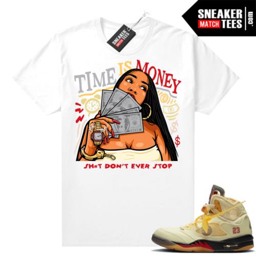 OFF White Jordan 5 Sail Sneaker Tees Shirts White Time Is Money