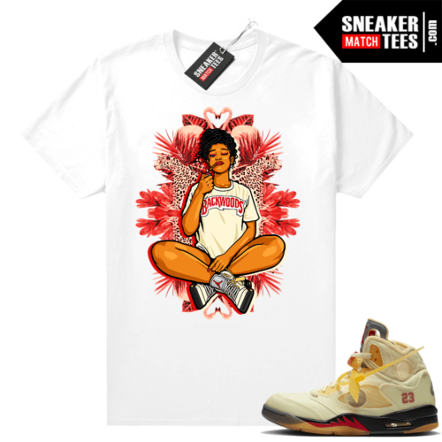 OFF White Jordan 5 Sail Sneaker Tees Shirts White Vibes