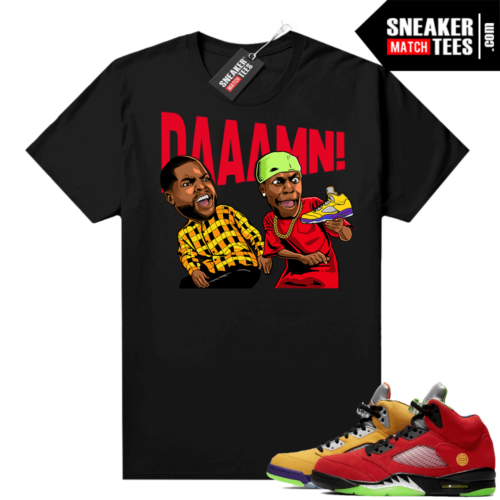What the 5s Jordan Sneaker Tee Shirts Black DAAAMN