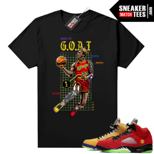What the 5s Jordan Sneaker Tee Shirts Black Goat Blue Print
