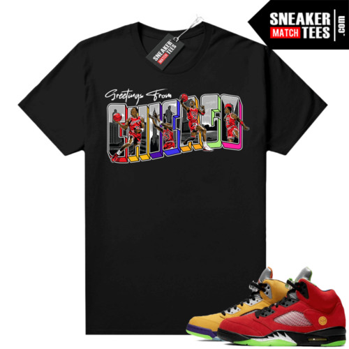 What the 5s Jordan Sneaker Tee Shirts Black Greetings From Chicago