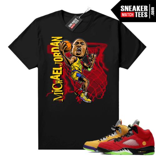 What the 5s Jordan Sneaker Tee Shirts Black MJ toon