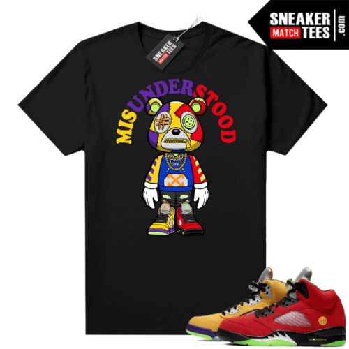 What the 5s Jordan Sneaker Tee Shirts Black Misunderstood Bear Toon