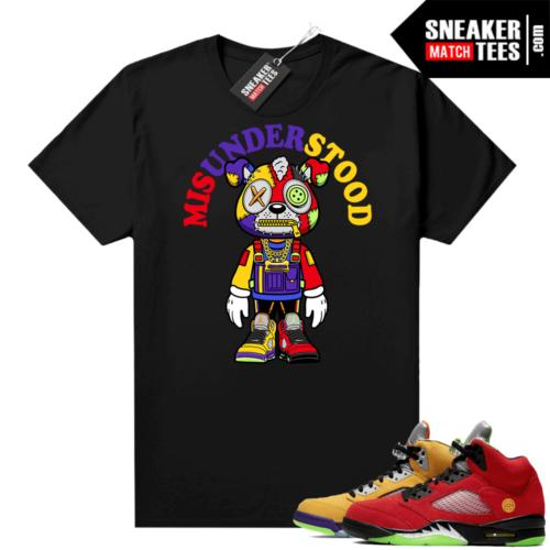 What the 5s Jordan Sneaker Tee Shirts Black Misunderstood Puppy Toon