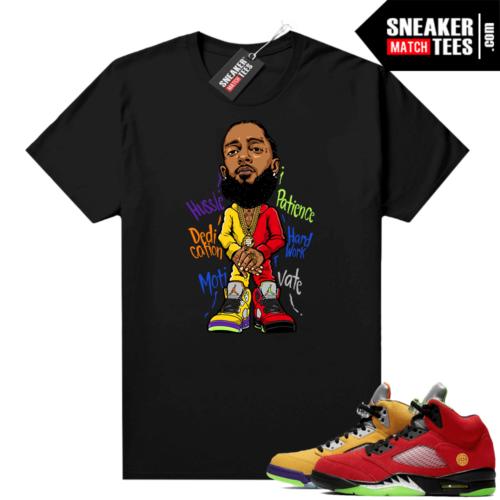 What the 5s Jordan Sneaker Tee Shirts Black Nipsey Hussle