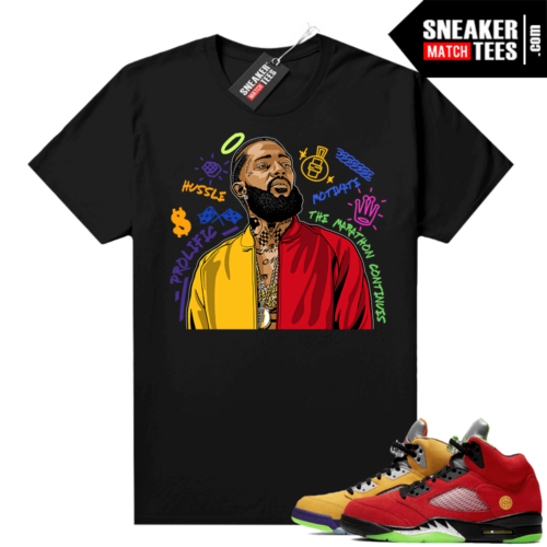 What the 5s Jordan Sneaker Tee Shirts Black Nipsey Tribute