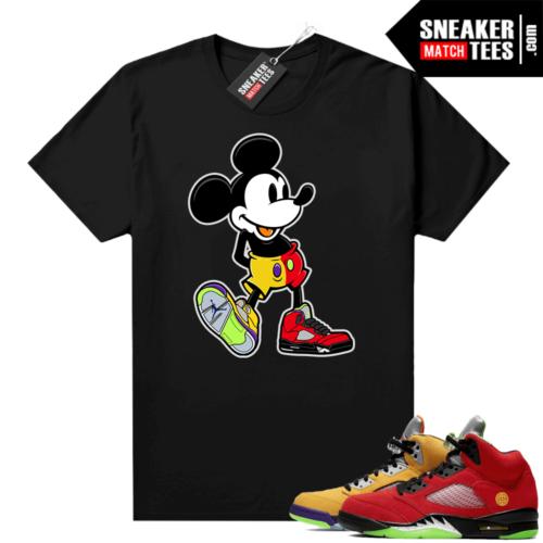 What the 5s Jordan Sneaker Tee Shirts Black Sneakerhead Mickey