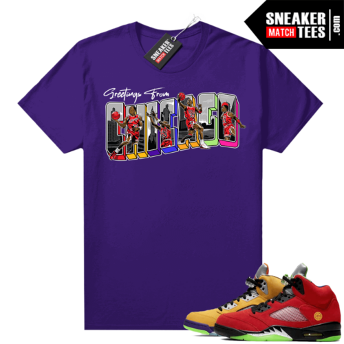 What the 5s Jordan Sneaker Tee Shirts Purple Greetings From Chicago