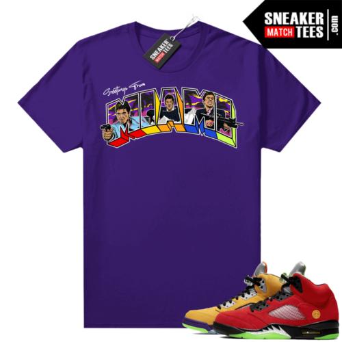 What the 5s Jordan Sneaker Tee Shirts Purple Greetings From Miami