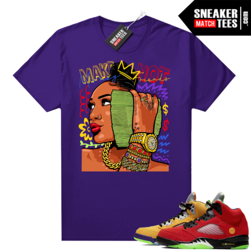 What the 5s Jordan Sneaker Tee Shirts Purple Make Money Not Friends