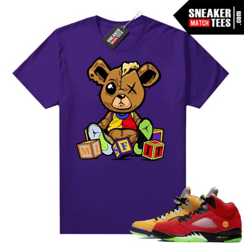 What the 5s Jordan Sneaker Tee Shirts Purple Misfit Teddy