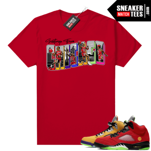 What the 5s Jordan Sneaker Tee Shirts Red Greetings From Chicago