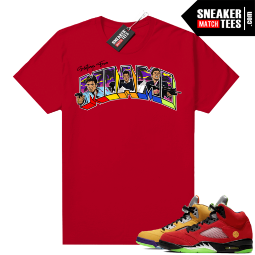 What the 5s Jordan Sneaker Tee Shirts Red Greetings From Miami