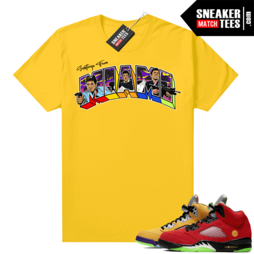 What the 5s Jordan Sneaker Tee Shirts Yellow Greetings From Miami